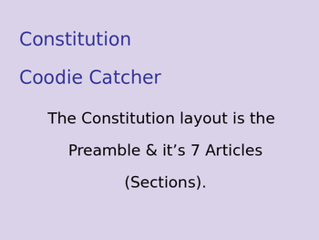 SS.7.C.1.6 Preamble and the Constitution Coodie Catcher/ F