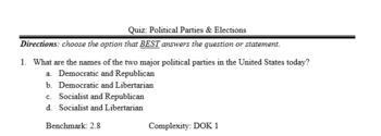 SS.7.C.2.8 Political Parties Quiz