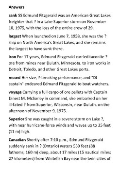 SS Edmund Fitzgerald Crossword