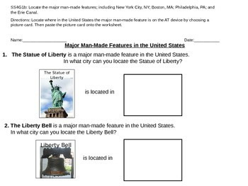 SS: Man Made Features in the United States (adapted for special education)