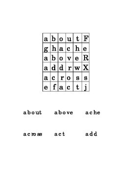 #SS1 Letter A Sight Word Simple Search Puzzle Kindergarten