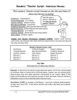 SS3H2 Grade 3 Readers' Script American Heroes - All Nine
