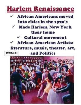 SS5H4 (b) The Harlem Reniassance Anchor Chart and Handout