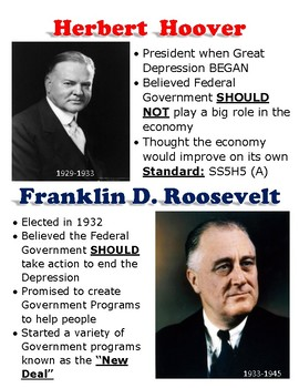 SS5H5(a) Hoover vs. Roosevelt- Great Depression Anchor Chart