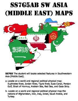 Ss7g5ab Southwest Asia Middle East Map Pack By Honeybird Tpt