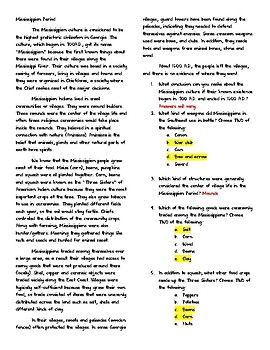 SS8H1- Mississippian Reading with Key