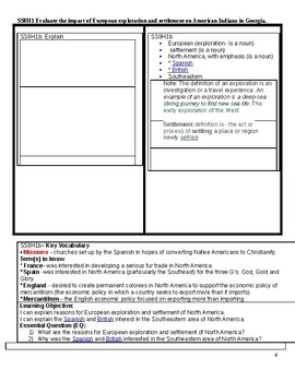 SS8H1 Quick Notes  Evaluate the impact of European exploration and settlement GA