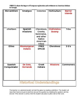 SS8H1abc Bingo Game Evaluate the impact of European exploration and settlement.