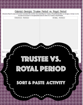 SS8H2d: Trustee vs. Royal Period Sort & Paste Activity