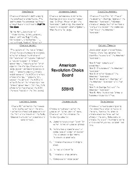 American Revolution Choice Board (SS8H3)