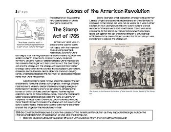 SS8H3a Causes of the American Revolution