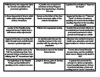 SS8H7 Race Relations and Reform GA History Matching Cards