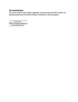 Speech Therapy-SSI/FLUENCY EVALUATION REPORT TEMPLATE