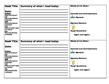 SSR Daily Reading Journal with Fiction Notice and Note Signposts