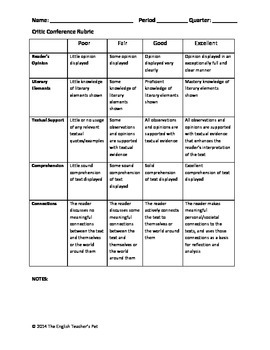 SSR Independent Reading Student Printables and Rubric