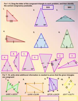 Triangle Congruence Worksheet Teachers Pay Teachers
