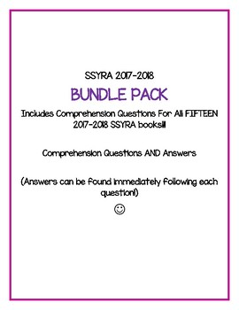 SSYRA 2017-2018  BUNDLE PACK Includes Comp. Questions For All 15 books!