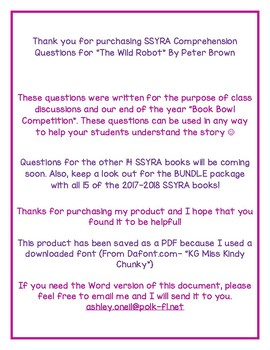 """SSYRA Comprehension Questions """"The Wild Robot"""" By Peter Brown"""