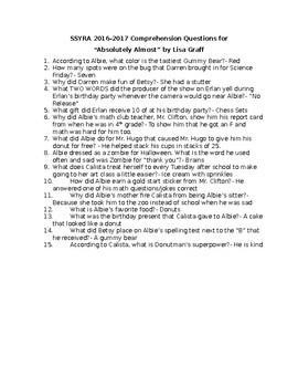 SSYRA Comprehension Questions for Absolutely Almost by Lisa Graff