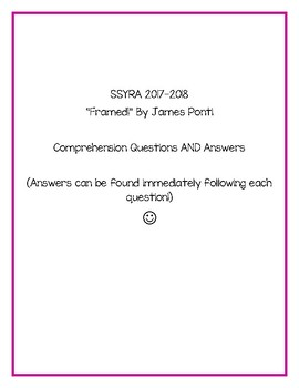 """SSYRA Comprehension Questions for """"Framed!"""" By James Ponti"""