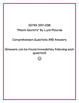 "SSYRA Comprehension Questions for ""Maxi's Secrets"" By Lynn Plourde"