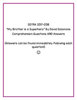 "SSYRA Comprehension Questions for ""My Brother is a Superhero"" by David Solomons"