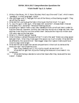 SSYRA Fish Finelli Comprehension Questions with Answer Key