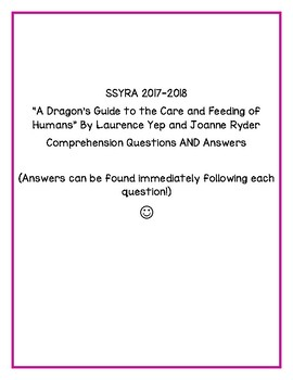 "SSYRA Questions for ""A Dragon's Guide to the Care and Feeding of Humans"""