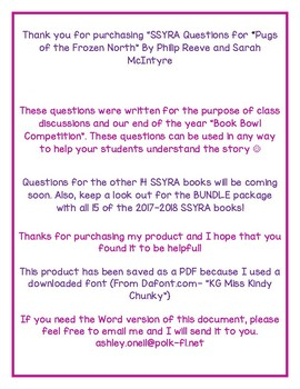 """SSYRA Questions for """"Pugs of the Frozen North"""" by Reeve and McIntyre"""