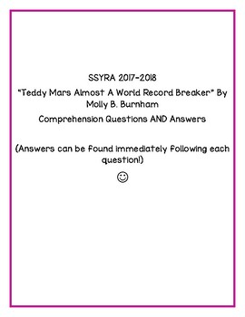 "SSYRA Questions for ""Teddy Mars Almost World Record Breaker"" by Molly B. Burnham"