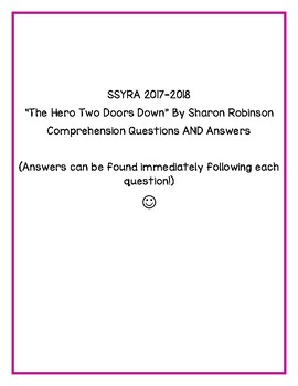 "SSYRA Questions for ""The Hero Two Doors Down"" by Sharon Robinson with Answer Key"