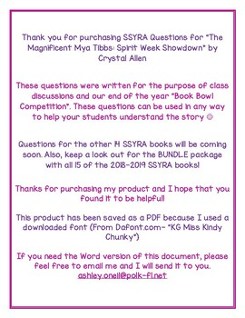 """SSYRA Questions for """"The Magnificent Mya Tibbs: Spirit Week Showndown"""""""