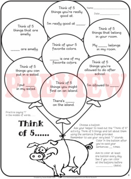"""Speech therapy – Sentence level practice: """"Think of 5..."""" Bundle (B&W pages)"""