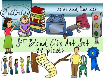 ST Blend Phonics Clip Art Set - Color and Line Art 22 pc set