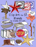 ST Blends Realistic Color and BW Phonics Clip Art