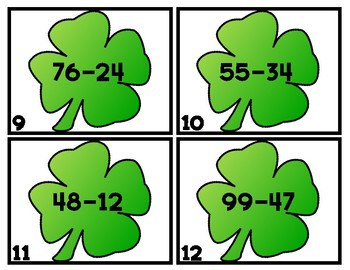 ST. PADDY SUBTRACTION SCOOT/TASK CARDS  2-DIGIT NO RG