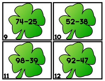 ST. PADDY SUBTRACTION SCOOT/TASK CARDS  2-DIGIT WITH RG