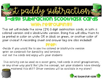 ST. PADDY SUBTRACTION SCOOT/TASK CARDS  3-DIGIT WITH RG