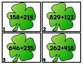 ST. PADDY SUMS 3-Digit Addition Scoot/Task Cards WITH RG