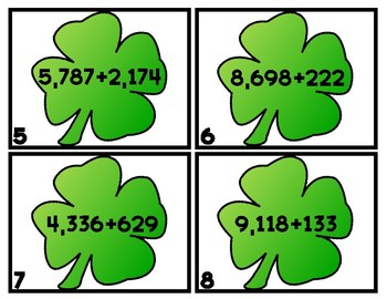 ST. PADDY SUMS 4-Digit Addition Scoot/Task Cards WITH RG