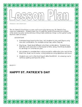 ST. PATRICK'S DAY BINGO  - K-2 Writing Prompt