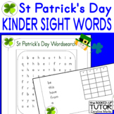 {ST PATRICK'S DAY WORKSHEETS} {KINDER SIGHT WORDS WORD SEARCH}