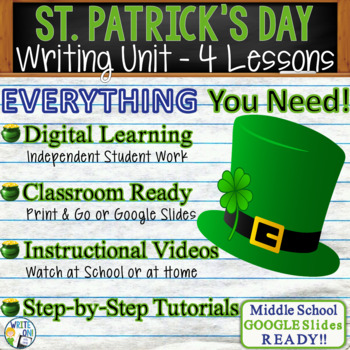 St. Patrick's Day Writing BUNDLE - Argumentative Persuasive Expository Narrative