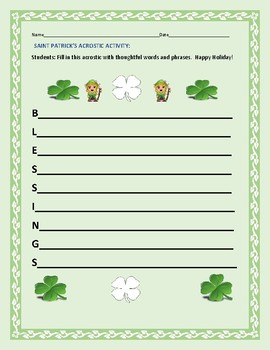 ST. PATRICK'S DAY ACROSTIC ACTIVITY: BLESSINGS
