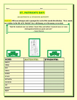 ST. PATRICK'S DAY: AN ANTONYM & SYNONYM ACTIVITY/FAMOUS QUOTE