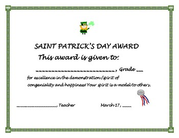 ST. PATRICK'S DAY AWARD