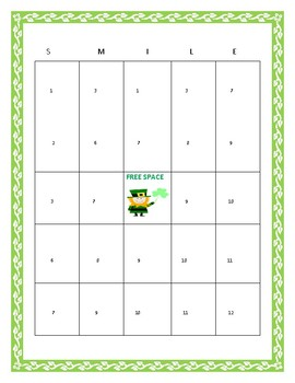ST. PATRICK'S DAY BINGO! HAVE FUN! TOP OF THE MORNING TO YA!