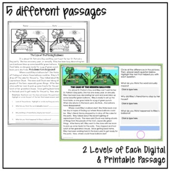 ST. PATRICK'S DAY CLOSE READING MYSTERY PASSAGES