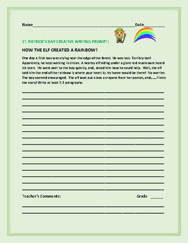 ST. PATRICK'S DAY CREATIVE WRITING PROMPT: HOW THE ELF CREATED A RAINBOW