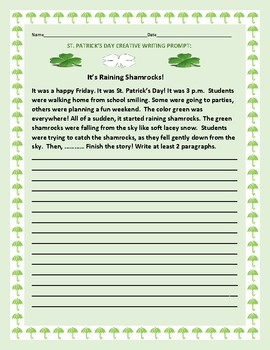 ST. PATRICK'S DAY CREATIVE WRITING PROMPT: IT'S RAINING SHAMROCKS!